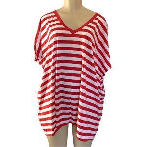 NWT Joe Fresh Low V-Neck Red & White Striped Classic Nautical T-Shirt PLUS 3X